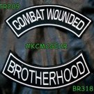 COMBAT WOUNDED BROTHERHOOD White on Black Military Patches Set for Biker Vest