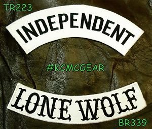 INDEPENDENT LONE WOLF Black on White Back Military Patches Set Biker Vest Jacket