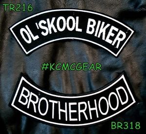 OL�SKOOL BROTHERHOOD White on Black Back Military Patches Set for Biker Vest