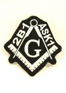 Mason 2B1 ASK 1 White on black Small Badge for Biker Vest Jacket Patch