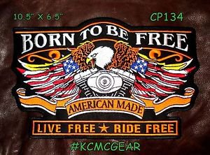 """BORN TO BE FREE EAGLE AMERICAN MADE for Biker Motorcycle Jacket Back Patches 10"""""""