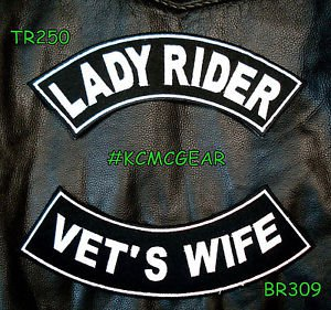 Lady Rider Vet�s Wife Embroidered Patches Sew on Patches Motorcycle Biker Patch
