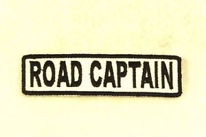 ROAD CAPTAIN Black on White Small Badge for Biker Vest Motorcycle Patch