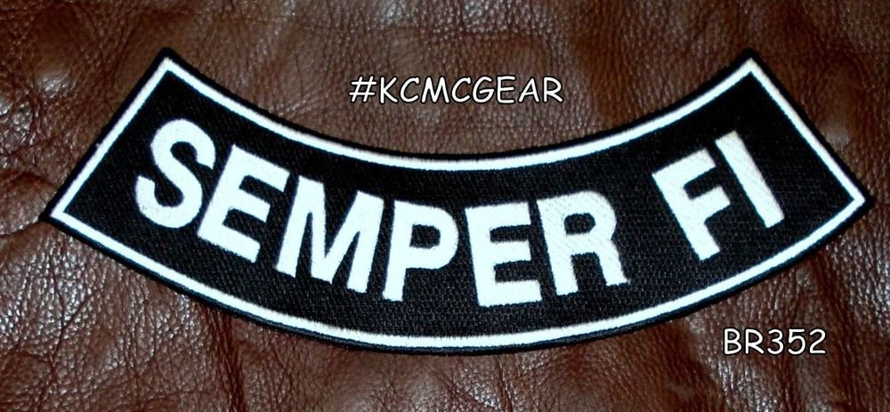 SEMPER FI White on Black Back Patch Bottom Rocker for Biker Veteran Vest 10""