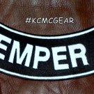 """SEMPER FI White on Black Back Patch Bottom Rocker for Biker Veteran Vest 10"""""""
