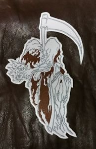 """WHITE REAPER for Biker Motorcycle Vests Jackets Military Back Rocker Patches 10"""""""