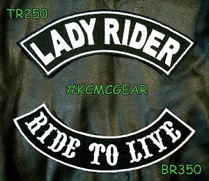 LADY RIDER RIDE TO LIVE White on Black Back Military Patches Set for Biker Vest