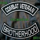COMBAT VETERAN BROTHERHOOD White on Black Military Patches Set for Biker Vest