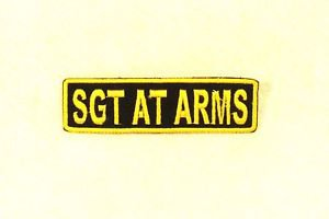 SGT AT ARMS Yellow on Black Small Badge for Biker Vest Motorcycle Patch