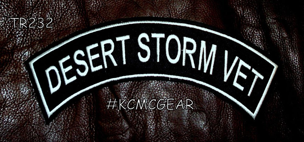 Desert Storm vet Ptch Top Rocker Back Patch for Vest Jacket TR232 white border