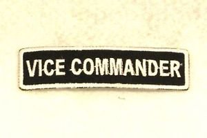 VICE COMMANDER White on Black Small Badge for Biker Vest Motorcycle Patch