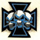 Blue and white Maltese cross with three skulls Small Badge for Biker Vest Patch