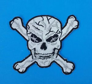 Reflective Patch Skull Cross Bones Night Time patch for Vest Jacket 4 inches