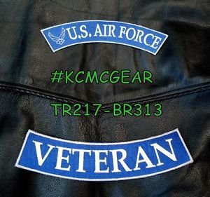 US AIR FORCE VETERAN White on Blue Back Military Patches Set for Biker Vest
