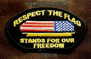 RESPECT THE FLAG Oval Small Badge for Biker Vest Motorcycle Patch