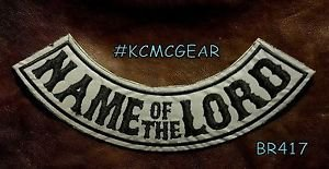 NAME OF THE LORD Reflective Back Patch Bottom Rocker for Biker Veteran Vest 10""