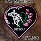 She Wolf Heart Small Badge for Women Biker Vest Jacket Motorcycle Patch