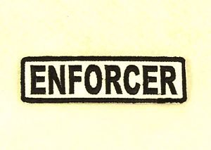 ENFORCER Black on White Small Badge for Biker Vest Motorcycle Patch