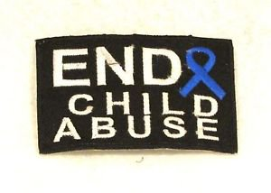 End child abuse with blue Ribbon Small Badge for Biker Vest Motorcycle Patch