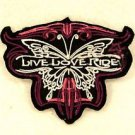 Live Love Ride Red and White on Black Small Badge for Biker Vest Jacket Patch