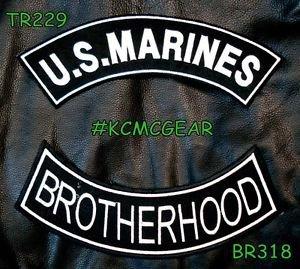US MARINES BROTHERHOOD White on Black Back Military Patches Set Biker Vest