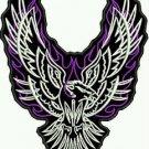 WOMEN'S Motorcycle vest Back patches Purple flames phoenix Eagle Patch large new