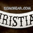 CHRISTIAN Black on White Back Patch Bottom Rocker for Biker Veteran Vest 10""