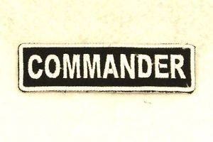 COMMANDER White on Black Small Badge for Biker Vest Motorcycle Patch