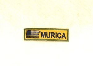 Murica Black on tan with green border Small Badge Biker Vest Motorcycle Patch