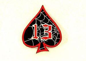 Spider Web 13 Spade Red white on black Small Badge Biker Vest Jacket Patch SB804