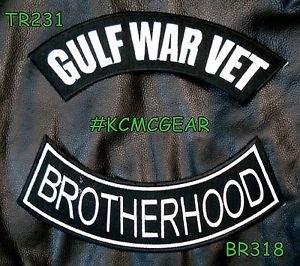 GULF WAR VET BROTHERHOOD White on Black Back Military Patches Set Biker Vest