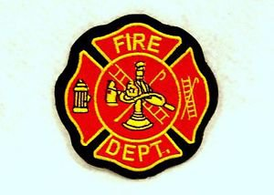 Fire Dept Yellow and red on black Small Badge for Biker Vest Motorcycle Patch