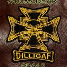 DILLIGAF MALTESE CROSS Small Badge for Biker Vest Motorcycle Patch