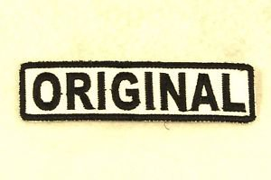 ORIGINAL Black on White Small Badge for Biker Vest Motorcycle Patch