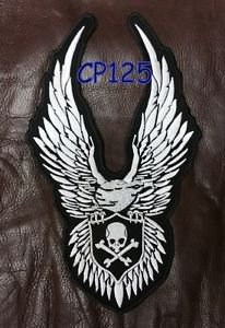 SKULL AND CROSS BONE EAGLE Biker  Motorcycle Vest Jacket Back Rocker Patches 10""