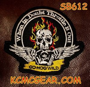 GO HOG WILD Flaming Skull Small Badge for Biker Vest jacket Motorcycle Patch