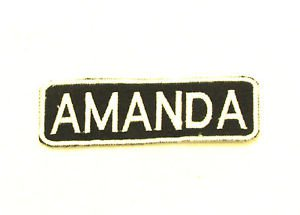 AMANDA Name Tag Patch Iron on or sew on for Shirt Jacket Vest New Name Patches