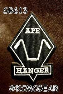 APE HANGER Diamond White on Black Small Badge for Biker Vest Motorcycle Patch
