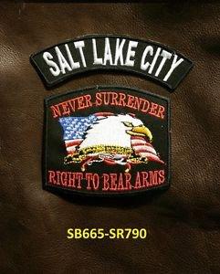 SALT LAKE CITY and NEVER SURRENDER Small Badge Patches Set for Biker Vest Jacket