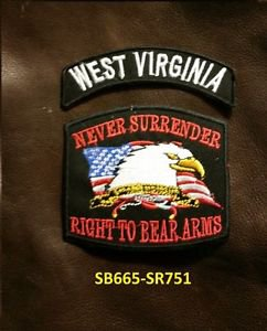 WEST VIRGINIA  and NEVER SURRENDER Small Badge Patches Set for Biker Vest Jacket