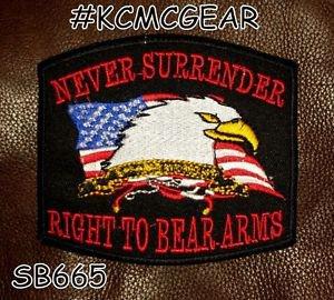 NEVER SURRENDER Small Badge for Biker Vest Motorcycle Patch