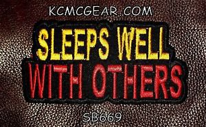 SLEEPS WELL WITH OTHERS Small Badge for Biker Vest Jacket Motorcycle Patch