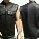 MENS LEATHER MOTORCYCLE BIKER MC CLUB VEST Conceal Carry Red Liner No Seam Back