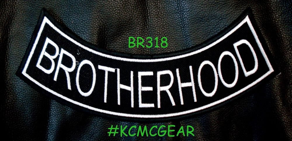"""BROTHERHOOD Black on White Back Patch Bottom Rocker for Biker Veteran Vest 10"""""""