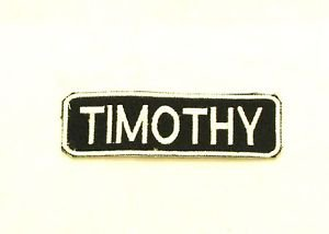 Timothy White on Black Iron on Name TAG Patch for Biker Vest Jacket NB260