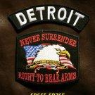 DETROIT and NEVER SURRENDER Small Badge Patches Set for Biker Vest Jacket