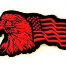 Eagle and flag Red on Black Small Badge for Biker Vest Jacket Patch SB734