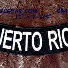 """PUERTO RICO White on Black Back Patch Bottom Rocker for Biker Veteran Vest 10"""""""