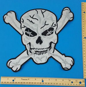 Reflective Patch Large Skull Cross Bones Back patch for Vest Jacket New