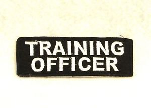 TRAINING OFFICER White on Black Small Badge for Biker Vest Motorcycle Patch